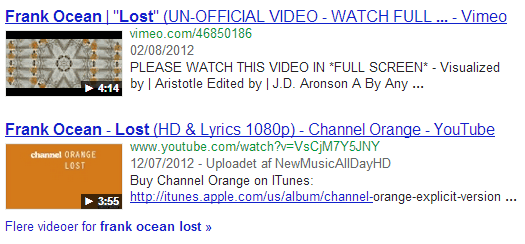 Video Snippet SERP