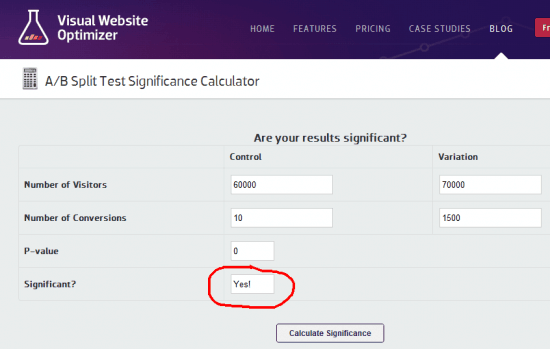 A/B Split Test Significance Calculator