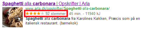 Anmeldelse Rich Snippet SERP