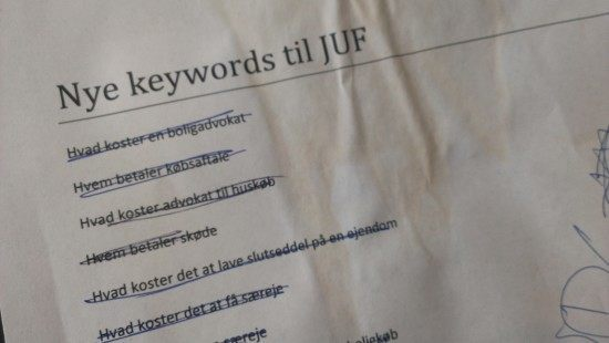 nye keywords på juf