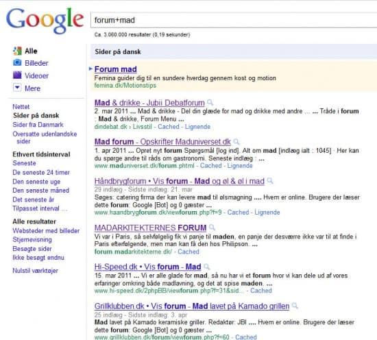 Google Forum + Mad Søgning