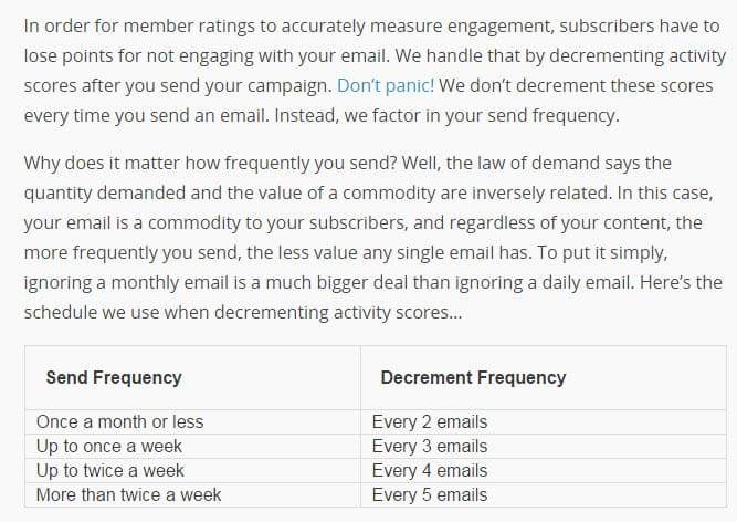Mailchimp member ratings